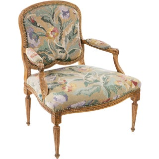 19th Century Louis XV Carved Armchair For Sale