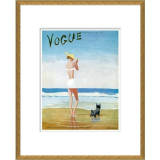 """Beach Dog Woman"" Vintage Vogue Cover Gold Framed Giclee Reproduction For Sale"