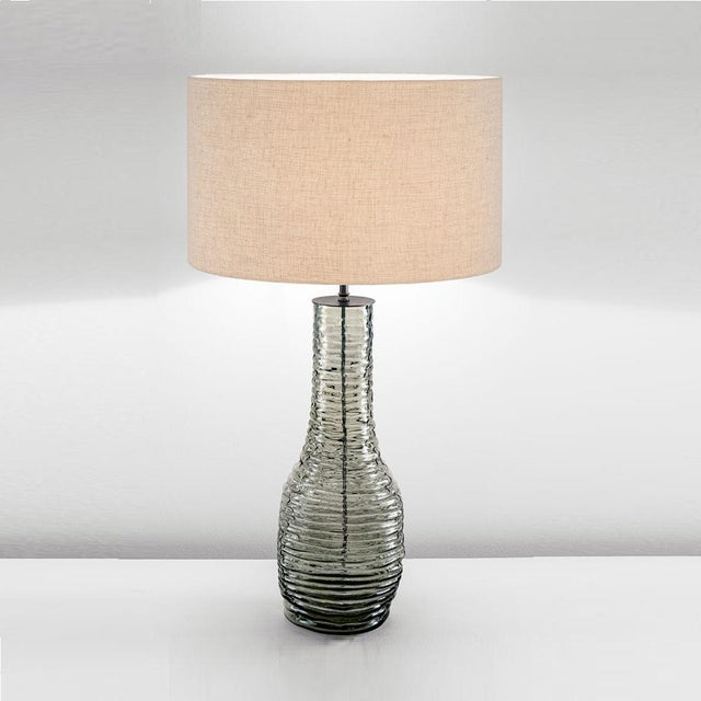 Mouth blown Veneto glass lamp with smoke glass and Black Bronze metalwork. Features: Mouth blown heavy glasses have a...