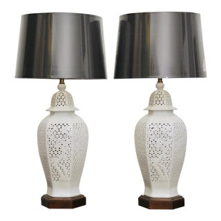 Frederick Copper Blanc De Chine Pierced Chinoiserie Lamps - A Pair