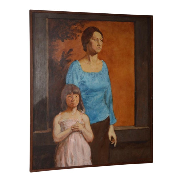 Vintage Oil Portrait of a Young Mother and Daughter C.1979 For Sale
