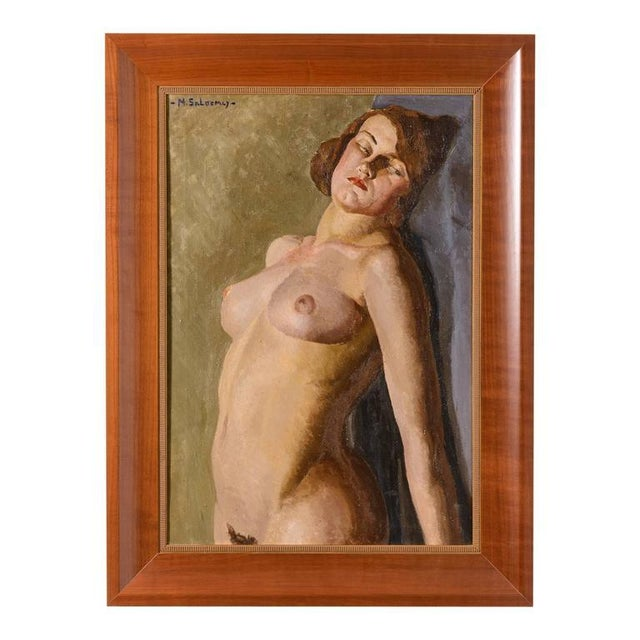 American Art Deco Painting of a Female Nude by Mabel Kaiser Saloomey - Image 7 of 7