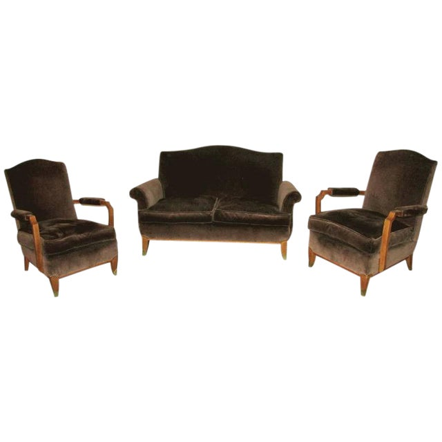 Jean Pascaud Style French Art Deco Living Room Set - 3 Pieces For Sale