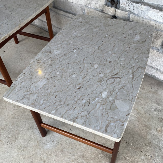 1950s Danish Modern Dux Folke Ohlsson Travertine Top Tables - a Pair For Sale In Milwaukee - Image 6 of 12