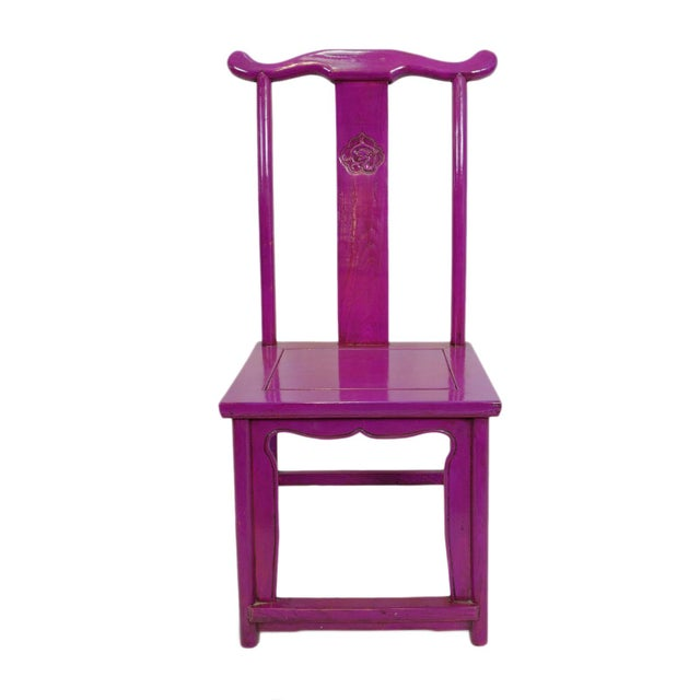 Wood Purple Ming Dining or Side Chair For Sale - Image 7 of 7