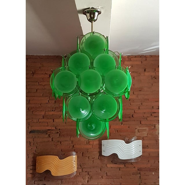 Mid-Century Modern Green Disc Murano Chandelier by Vistosi For Sale - Image 9 of 9