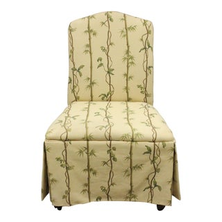 Children's Slipper Chair With Bamboo Trellis Print Fabric For Sale