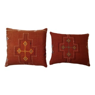 Handwoven Cactus Silk Red Pillows - A Pair For Sale