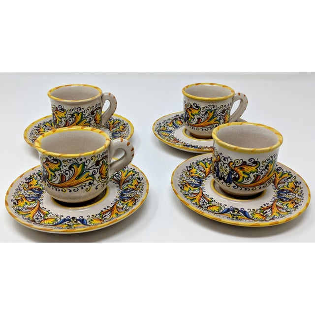 Blue Demitasse Cup & Saucer Set - Service for 4 For Sale - Image 8 of 8