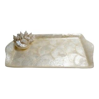 Capiz Shell Tray With Sea Shell Cluster For Sale