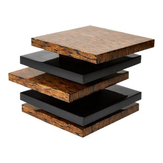 1990s Contemporary Stacked Black Lacquered Side Table For Sale
