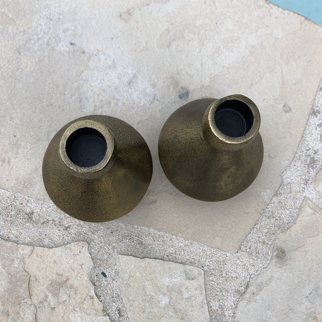 Metal 1970s Modern Brutalist Style Cast Brass Candle Holders - a Pair For Sale - Image 7 of 13
