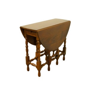 "20th Century Traditional Imperial Furniture Grand Rapids, MI Solid Mahogany 42"" Pembroke / Drop-Leaf Accent End Table For Sale"