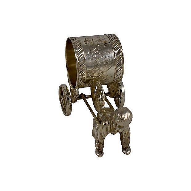 Silver Victorian Boy & Cart Silver Figural Napkin Ring/Holder For Sale - Image 8 of 11