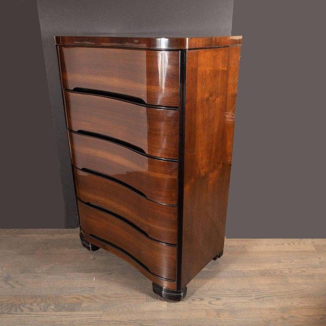 Art Deco Machine Age Bookmatched Mahogany & Black Lacquer Streamlined High Chest For Sale - Image 9 of 13