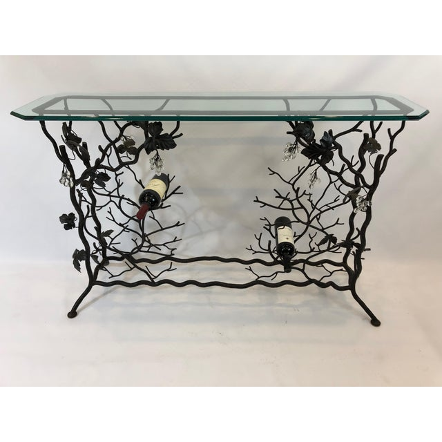 1980s Traditional Hand Forged Iron Console Table and Wine Rack For Sale - Image 11 of 11