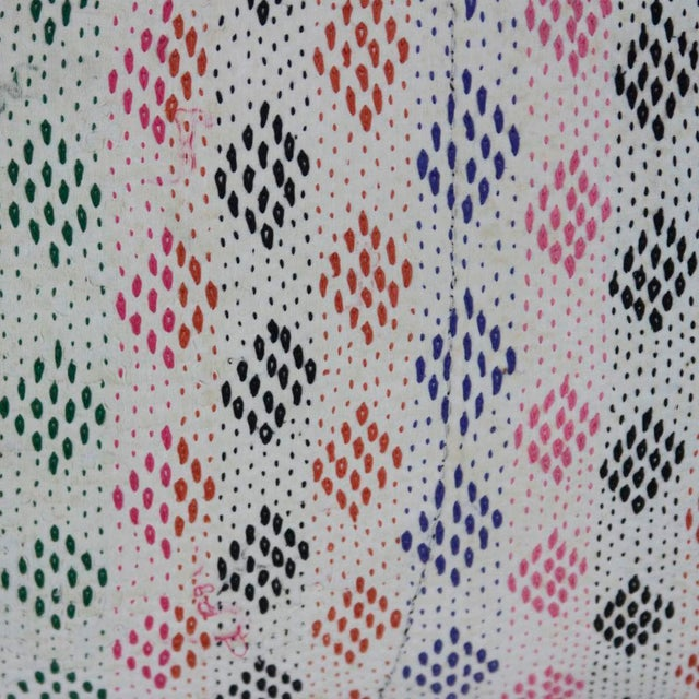 Boho Chic Multicolor Diamond Bengal Kantha Lumbar Pillow For Sale - Image 3 of 3