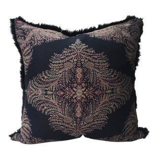 Ralph Lauren Black Paisley Fabric With Fur Pillow