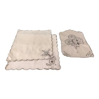 Mid 20th Century Linen Napkin Set - Set of 8 For Sale