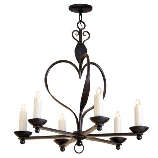 Fine Italian Six Arm Wrought Iron Chandelier by Randy Esada Designs Inc for PROSPR For Sale