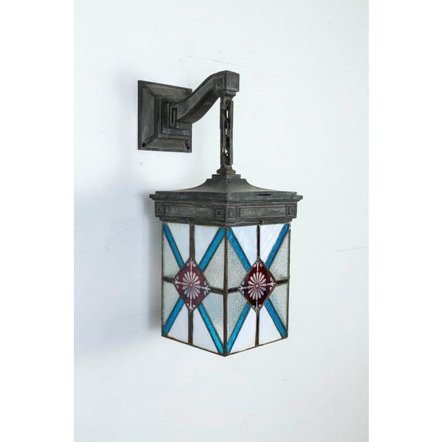 Blue, White & Deep Red Stained Glass & Bronze Lantern Sconce For Sale - Image 10 of 12