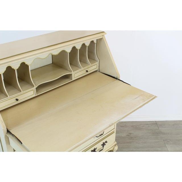 1960s Traditional Secretary Desk, Cream Secretary Desk For Sale - Image 5 of 12