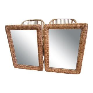 Island Chic Rattan Woven Mirrors, Late 20th Century - a Pair For Sale