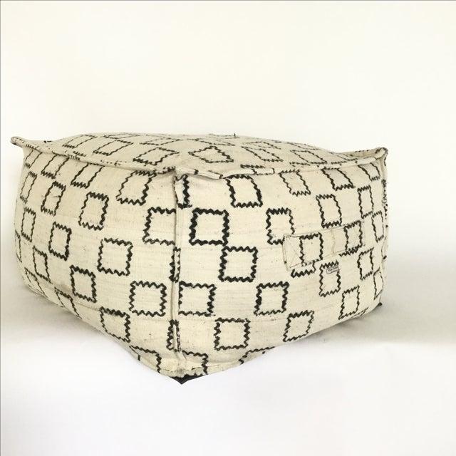 Block Printed Mud Cloth Ivory Pouf - Image 4 of 4