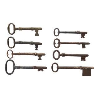Set of 8 Antique and Vintage Keys For Sale