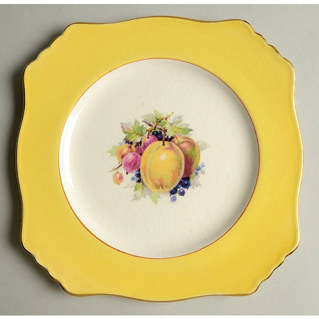 Pink Royal Winton Square Salad Plate Mixed Fruit Motif - Set of 4 For Sale - Image 8 of 12