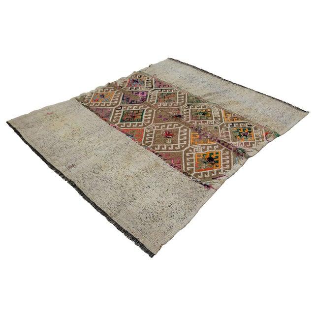 Mid-Century Modern Vintage Decorative Kilim Rug- 5′1″ × 5′9″ For Sale - Image 3 of 7