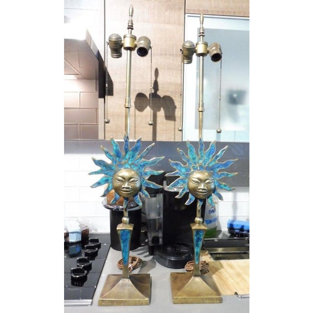 This is a fine pair of Pepe Mendoza Soleil lamps sold as found in vintage condition previously owned and used showing...