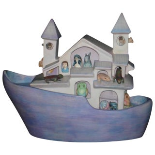 Signed Ceramic Noah's Ark by Mexican Artist, Sergio Bustamante For Sale