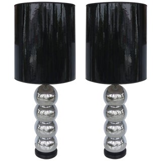George Kovacs Stacked Ball Table Lamps With Gloss Shades - a Pair For Sale