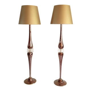 Large Mid-Century Modern Mirrored Copper Murano Glass Floor Lamps - a Pair For Sale