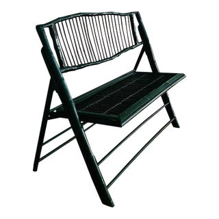 Vintage Black Bamboo Foldable Bench For Sale