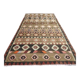 "Vintage Turkish Kilim Rug-6'1'x11'6"" For Sale"