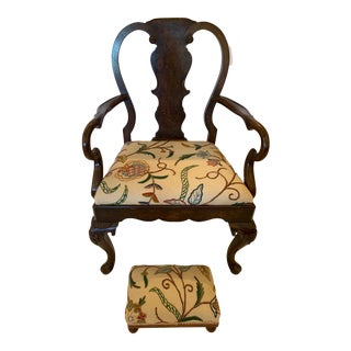 Queen Anne Style Armchair & Footstool- a Set For Sale
