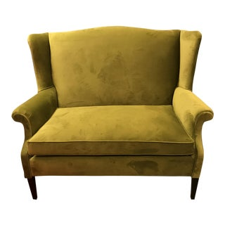 Mid-Century Restored, Chartreuse Green Velvet, Wingback Sofa With a Single Cushion
