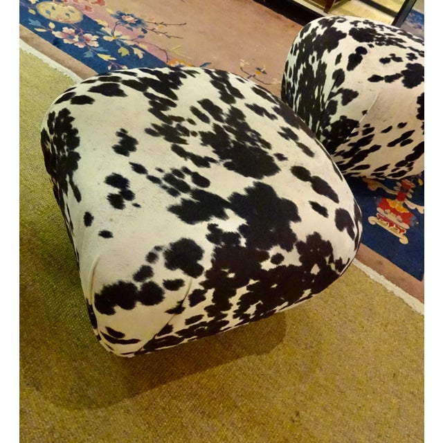 "1980s 1980s Karl Springer-Style Soufflé Poufs Upholstered in Black & White Faux ""Pony"" Print Velvet - a Pair For Sale - Image 5 of 7"