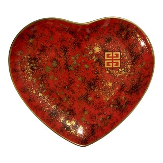 Vintage Givenchy Red Gold Porcelain Heart Trinket Dish For Sale