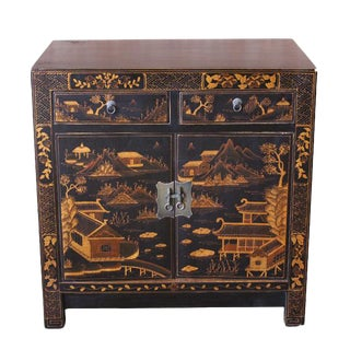 Square Corner Black Elm Cabinet With Gilt Painting For Sale