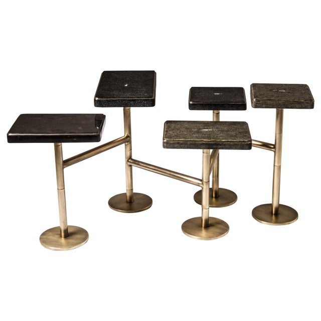 Black Rotating 5-Top Coffee Table in Shagreen & Bronze-Patina Brass by Kifu Paris For Sale - Image 8 of 8