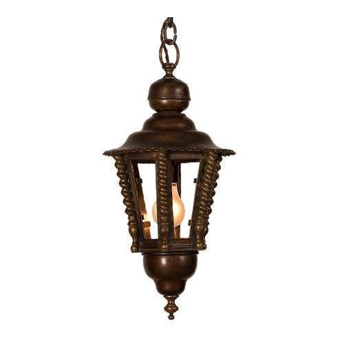 1920s Vintage Hexagonal Handsome Brass French Lantern For Sale