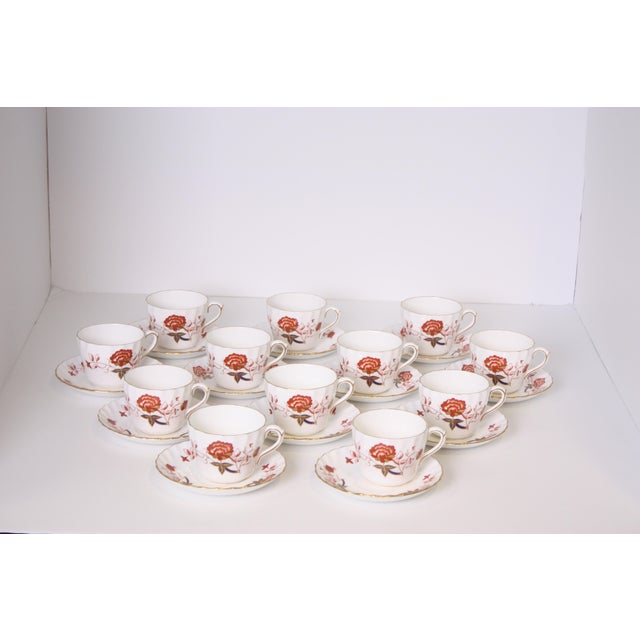 English Vintage Royal Crown Derby Bali Pattern Cups and Saucers - Set of 12 For Sale - Image 3 of 10