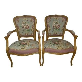 1960s Vintage Needlepoint French Chairs - a Pair For Sale