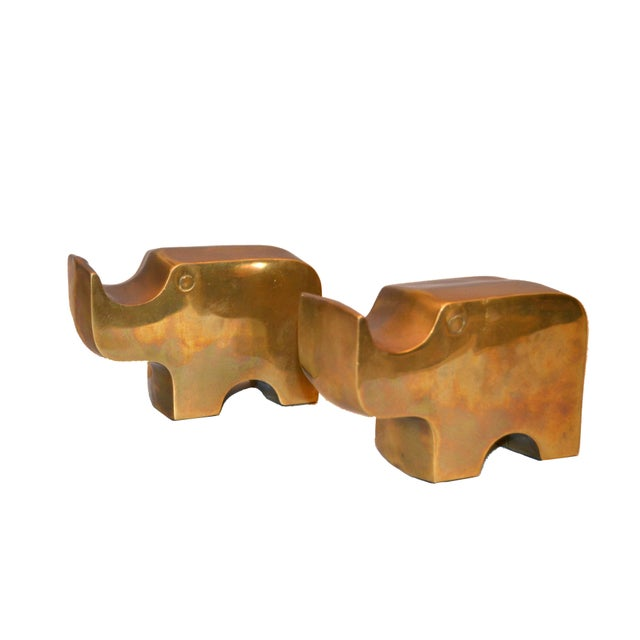 1970s Mid-Century Modern Bronze Rhinoceros Bookends in the Manner of Fratelli Mannelli For Sale - Image 5 of 11