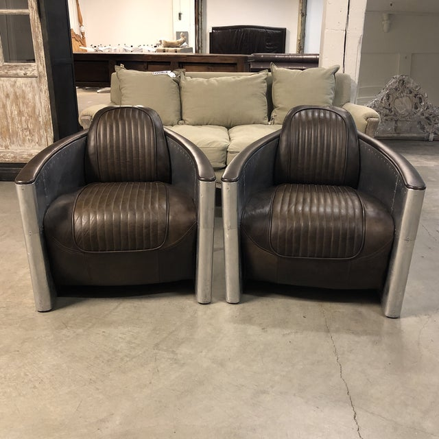 Pair of Restoration Hardware Aviator Chairs For Sale - Image 13 of 13