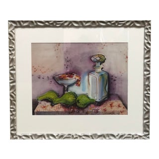 Mid Century Still Life Watercolor Painting For Sale