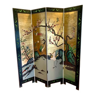 Gold Chinoiserie Room Divider Screen For Sale